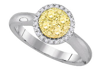 YELLOW DIAMOND ENGAGEMENT HALO RING ROUND SHAPE 14KT WHITE GOLD .46 CARATS