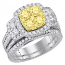 YELLOW DIAMOND ENGAGEMENT HALO RING WEDDING BAND BRIDAL SET PRINCESS SHAPE 2CT