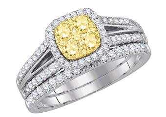 YELLOW DIAMOND ENGAGEMENT HALO RING WEDDING BAND BRIDAL SET CUSHION SHAPE 1 CT