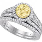 YELLOW DIAMOND ENGAGEMENT HALO RING WEDDING BAND BRIDAL SET ROUND SHAPE 1 CARAT