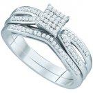 WOMENS DIAMOND PROMISE RING WEDDING BAND BRIDAL SET PRINCESS .25CT MICRO PAVE