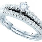 WOMENS DIAMOND ENGAGEMENT RING WEDDING BAND BRIDAL SET ROUND CUT .35 CARAT 14K