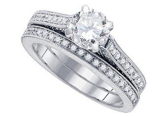 WOMENS DIAMOND ENGAGEMENT RING WEDDING BAND BRIDAL SET ROUND CUT 1.5 CARAT 14K