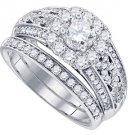 WOMENS DIAMOND ENGAGEMENT RING WEDDING BAND BRIDAL SET ROUND CUT 1.50 CARAT