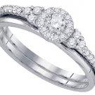 WOMENS DIAMOND PROMISE HALO RING WEDDING BAND BRIDAL SET ROUND CUT .30 CARATS
