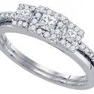 WOMENS DIAMOND ENGAGEMENT HALO RING WEDDING BAND BRIDAL SET PRINCESS CUT .47 CT