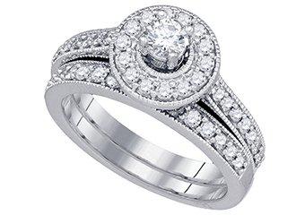WOMENS DIAMOND ENGAGEMENT HALO RING WEDDING BAND BRIDAL SET ROUND CUT .96 CARAT