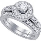 WOMENS DIAMOND ENGAGEMENT HALO RING WEDDING BAND BRIDAL SET ROUND CUT .96 CARAT