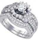 WOMENS DIAMOND ENGAGEMENT RING WEDDING BAND BRIDAL SET ROUND CUT 1 CARAT 14K