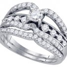 WOMENS DIAMOND ENGAGEMENT RING WEDDING BAND BRIDAL SET ROUND CUT .93 CARAT