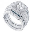 WOMENS DIAMOND HALO ENGAGEMENT RING WEDDING BAND BRIDAL SET ROUND CUT .94 CARAT