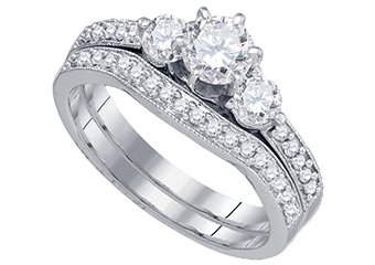 WOMENS DIAMOND ENGAGEMENT RING WEDDING BAND BRIDAL SET ROUND 3-STONE 1 CARAT 14K