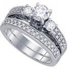 WOMENS DIAMOND ENGAGEMENT RING WEDDING BAND BRIDAL SET ROUND 3-STONE 1.03CT