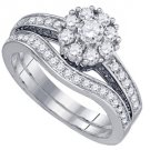 WOMENS DIAMOND ENGAGEMENT RING WEDDING BAND BRIDAL SET ROUND 1 CARAT 14K