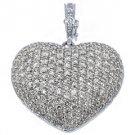 4 Carat Womens Diamond Heart Pendant Brilliant Round Cut Micro-Pave White Gold