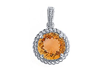 4.32 CARAT CHECK TOP CITRINE ROUND CUT PENDANT 11mm 925 STERLING SILVER