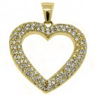 1.38 Carat Womens Diamond Heart Pendant 14KT Yellow Gold Pave Set Round Diamonds