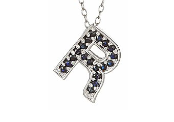 .42CT SAPPHIRE ROUND CUT LETTER R ALPHABET PENDANT w/ CHAIN 925 STERLING SILVER