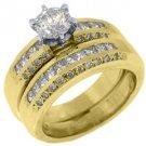2.15CT WOMENS DIAMOND ENGAGEMENT RING WEDDING BAND BRIDAL SET ROUND YELLOW GOLD