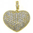 4 Carat Womens Diamond Heart Pendant Brilliant Round Cut Micro-Pave Yellow Gold