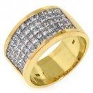 MENS 4.58 CARAT PRINCESS SQUARE CUT DIAMOND RING WEDDING BAND 18KT YELLOW GOLD