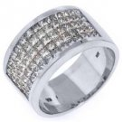 MENS 4.58 CARAT PRINCESS SQUARE CUT DIAMOND RING WEDDING BAND 18KT WHITE GOLD