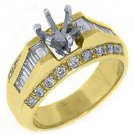 1.12 CARAT WOMENS DIAMOND ENGAGEMENT RING SEMI-MOUNT BAGUETTE CUT YELLOW GOLD