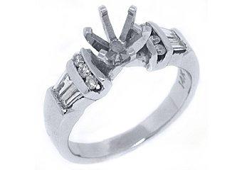 .52 CARAT WOMENS DIAMOND ENGAGEMENT RING SEMI-MOUNT BAGUETTE CUT WHITE GOLD