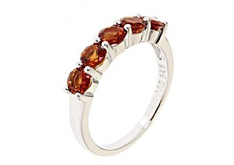 WOMENS BRILLIANT ROUND CUT MADERIA CITRINE WEDDING BAND RING 925 STERLING SILVER