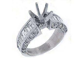 2.58 CARATS WOMENS DIAMOND ENGAGEMENT RING SEMI-MOUNT BAGUETTE CUT WHITE GOLD