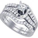 WOMENS DIAMOND ENGAGEMENT RING WEDDING BAND BRIDAL SET PRINCESS CUT 1.05 CARATS