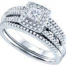 WOMENS DIAMOND ENGAGEMENT HALO RING WEDDING BAND BRIDAL SET PRINCESS CUT 1/2CTS