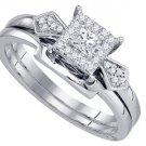WOMENS DIAMOND PROMISE HALO RING WEDDING BAND BRIDAL SET PRINCESS CUT 1/4 CARATS
