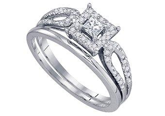 WOMENS DIAMOND ENGAGEMENT HALO RING WEDDING BAND BRIDAL SET PRINCESS CUT 1/4CTS