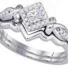 WOMENS DIAMOND ENGAGEMENT HALO RING WEDDING BAND BRIDAL SET PRINCESS CUT .25 CT