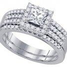 WOMENS DIAMOND ENGAGEMENT HALO RING WEDDING BAND BRIDAL SET PRINCESS CUT 1.01CTS