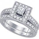 WOMENS DIAMOND ENGAGEMENT HALO RING WEDDING BAND BRIDAL SET PRINCESS CUT 1.02CTS