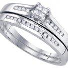 WOMENS DIAMOND ENGAGEMENT RING WEDDING BAND BRIDAL SET PRINCESS CUT .30 CARATS