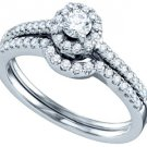 WOMENS DIAMOND ENGAGEMENT RING WEDDING BAND SET ROUND CUT .51 CARAT PRONG SET