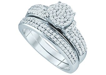 WOMENS DIAMOND ENGAGEMENT RING WEDDING BAND SET ROUND CUT 1/2 CARAT MICRO-PAVE