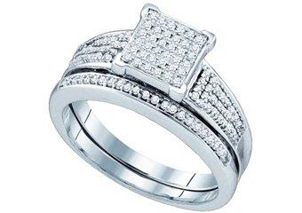 WOMENS DIAMOND PROMISE RING WEDDING BAND BRIDAL SET SQUARE SHAPE MICRO-PAVE