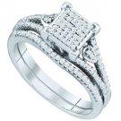 WOMENS DIAMOND ENGAGEMENT RING WEDDING BAND BRIDAL SET PRINCESS SHAPE MICRO-PAVE