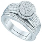 WOMENS DIAMOND ENGAGEMENT RING WEDDING BAND BRIDAL SET ROUND SHAPE MICRO-PAVE