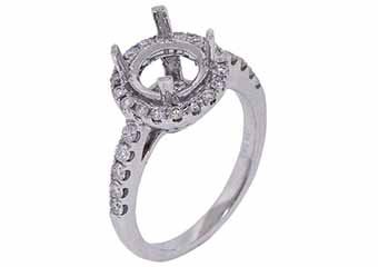 .55 CARAT WOMENS DIAMOND HALO ENGAGEMENT RING SEMI-MOUNT ROUND CUT WHITE GOLD