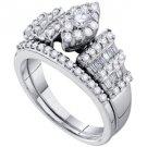 WOMENS DIAMOND ENGAGEMENT RING WEDDING BAND BRIDAL SET MARQUISE SHAPE ROUND CUT