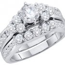 WOMENS DIAMOND ENGAGEMENT RING WEDDING BAND BRIDAL SET ROUND 2 CARATS