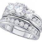 WOMENS DIAMOND ENGAGEMENT 3-STONE RING WEDDING BAND BRIDAL SET ROUND 2.5 CARAT