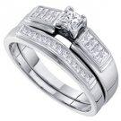 WOMENS DIAMOND ENGAGEMENT RING WEDDING BAND BRIDAL SET .50 CARATS PRINCESS CUT