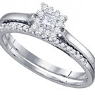WOMENS DIAMOND ENGAGEMENT PROMISE HALO RING WEDDING BAND BRIDAL SET PRINCESS CUT