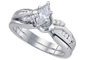 WOMENS DIAMOND ENGAGEMENT RING WEDDING BAND BRIDAL SET MARQUISE CUT .50 CARATS
